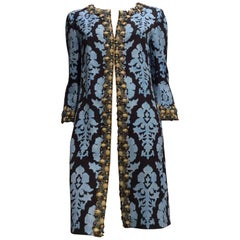 Andrew GN Light Blue And Brown Print Coat Sz 6