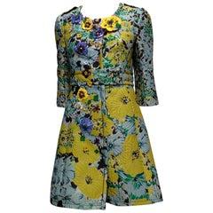 Andrew GN Multicolor Floral Coat With Appliqué Sequins Flowers Sz 8