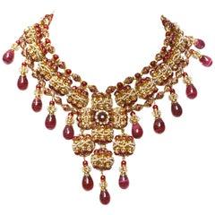 William De Lillo Burgundy Glass Drop Maltese Necklace