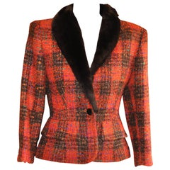 1980s Nina Ricci Plaid Wool/Mohair Jacket 36 Fr