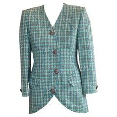 1980s Nina Ricci Silk/Wool Tweed Jacket 36Fr