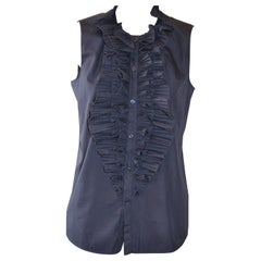 Givenchy Navy Blue Cotton Blouse With Frilly Bib
