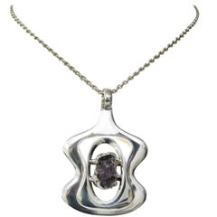 Scandinavian Modern Silver and Amethyst pendant by Jacob Hull, B&D