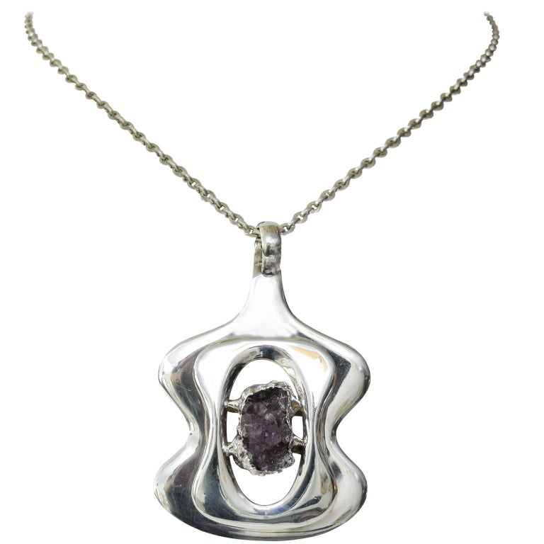 Scandinavian Modern Silver and Amethyst pendant by Jacob Hull, B&D For Sale