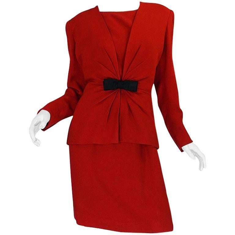1980s Valentino Haute Couture Backless Red Dress & Jacket