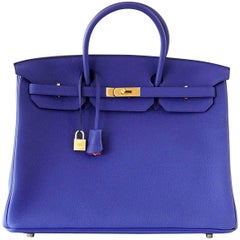 Hermes Birkin 40 Bag Electric Blue Rose Jaipur Horseshoe Brushed Gold Hardware
