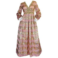 1960s Pink & Gold Embellished Metallic Silk Organza Dress
