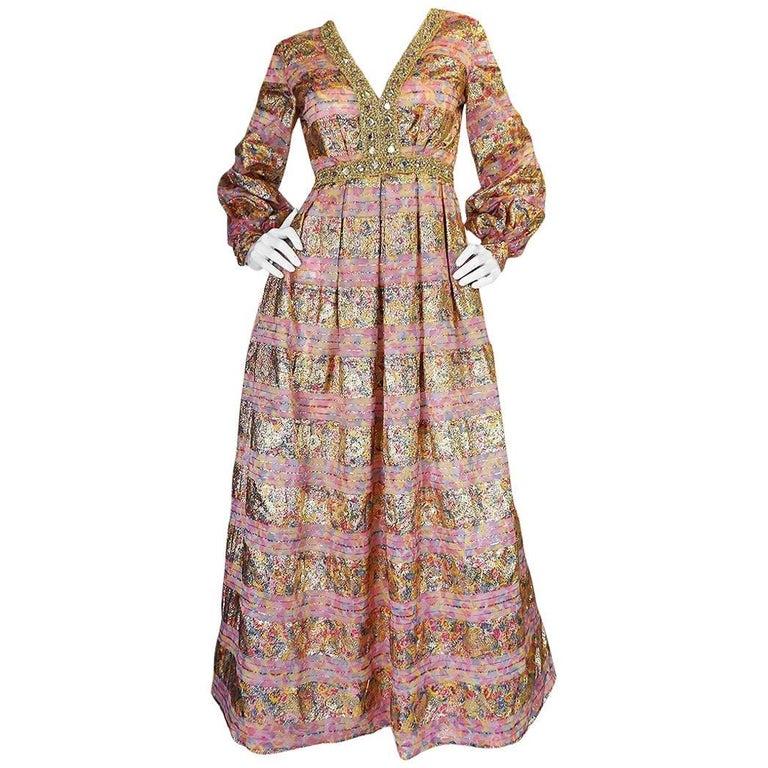 1960s Pink & Gold Embellished Metallic Silk Organza Dress