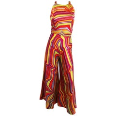 1960s Acid Rainbow Psychadelic Two Piece Set