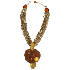 Philippe Ferrandis Agate, Glass, and Crystal Pendant Necklace