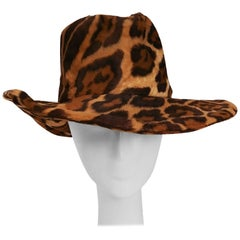 1970s Adolfo II Animal Print Western Hat