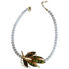Philippe Ferrandis Lucite and Glass Pea Necklace with Removable Pin