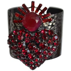 Philippe Ferrandis Hammered Metal and Swarovski Crystal Heart Cuff