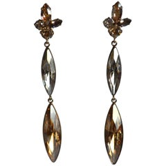 Philippe Ferrandis Champagne and Clear Crystal Statement Clip Earrings