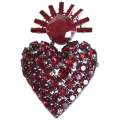 Philippe Ferrandis Royal Heart Swarovski Crystal Brooch