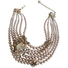 Philippe Ferrandis Glass Pearl and Swarovski Crystal Statement Necklace