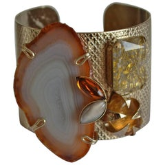 Philippe Ferrandis Agate, Glass, and Crystal Cuff