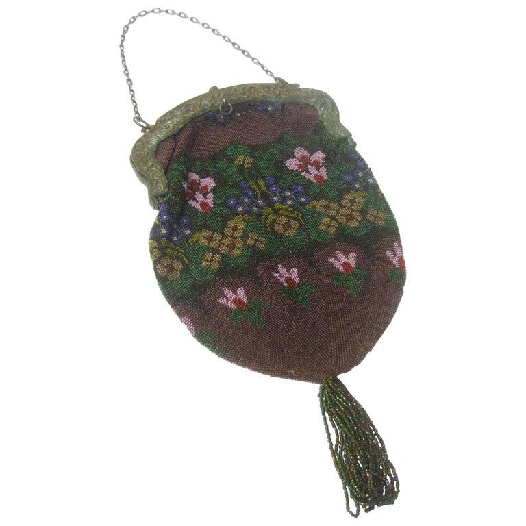 Exquisite Glass Hand Beaded Flower Evening Bag ca 1920s