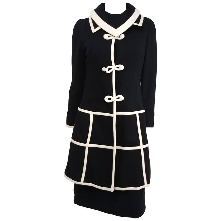 1960s Lilli Ann Black/White Two Piece Knit Dress Set