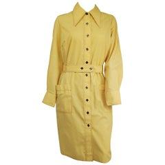 1970s Yellow Cotton Shirtdress