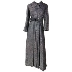 1970s Disco Studio 54 Lamé Black Maxi Dress