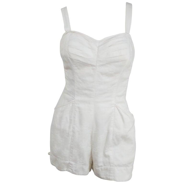 1950s Kamehameha White Cotton Damask Romper   For Sale