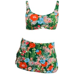 1960s Flower Print Two Piece Bikini Swimsuit