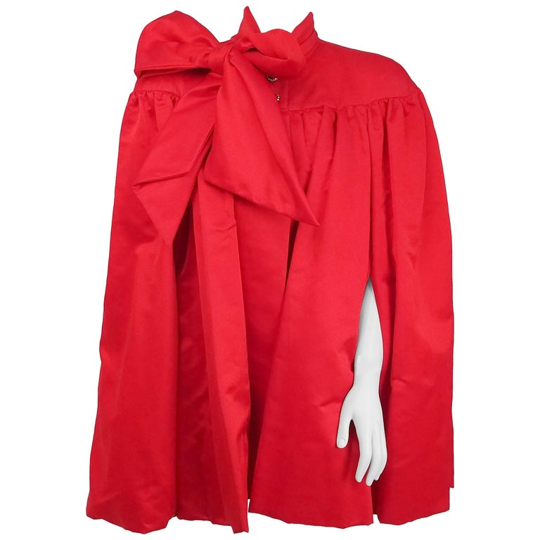 1980s Ann Lawrence Red Silk Satin Cape