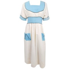 1920s Blue & White Lined Pinafore Dress
