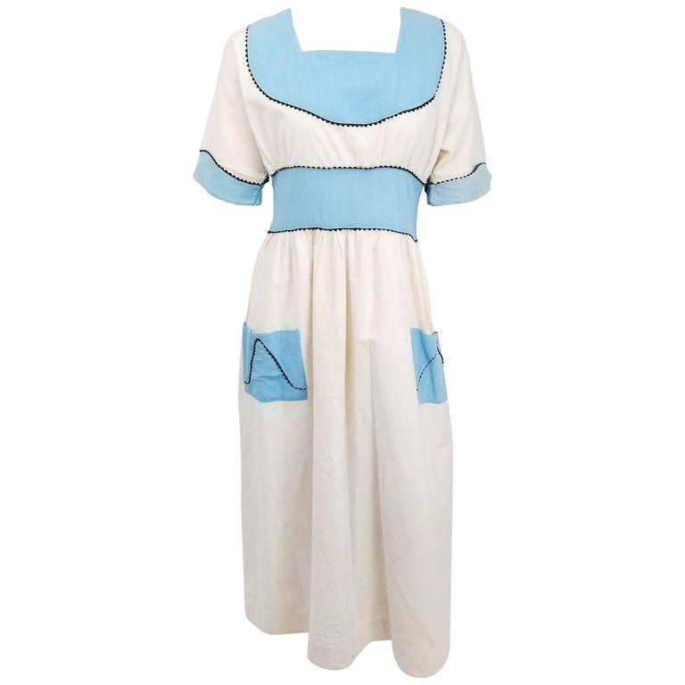 1920s Blue & White Lined Pinafore Dress For Sale