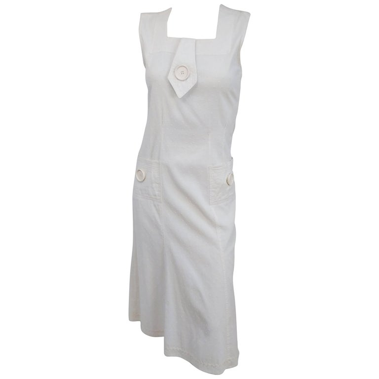 1920s White Swiss Dot Day Dress w/ Large Button Detail  For Sale
