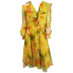 1980s I. Magnin Yellow Flower Print Chiffon Dress