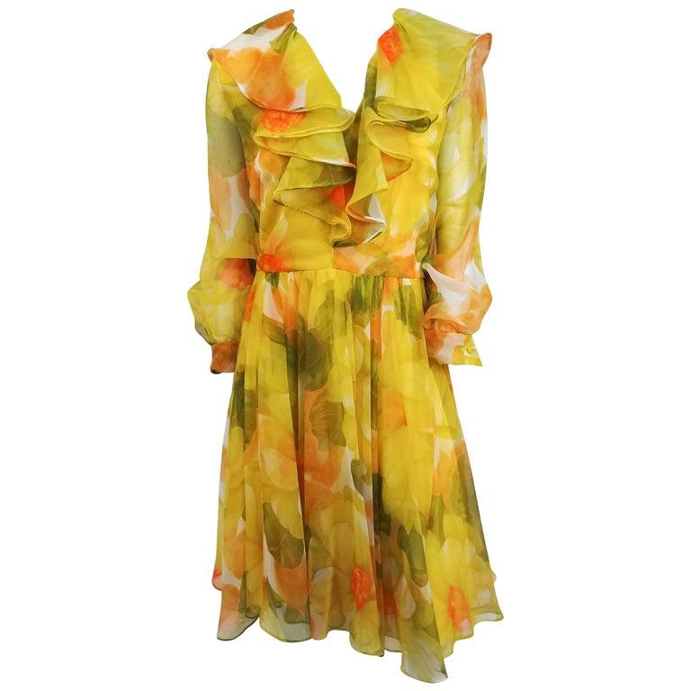 1980s I. Magnin Yellow Flower Print Chiffon Dress