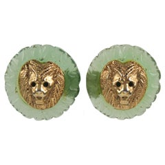 Kalinger Paris Signed Lion Head Clip on Earrings Aqua Green Resin and Gilt Metal