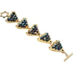 Claire Deve Paris Signed Link Bracelet Crystal Faceted Beads Paved
