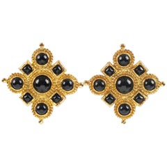 Edouard Rambaud Paris Signed Byzantine Clip-on Earrings Black Cabochon