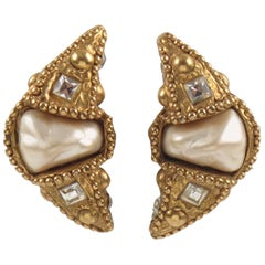 Alexis Lahellec Paris Signed Clip-on Earrings Resin Crescent with Pearl