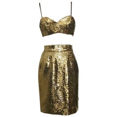 Moschino Couture Gold Sequin Cropped Bustier and Skirt Set, 1990s