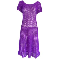 Chic 1960s Purple Italian Rayon Hand Crochet Vintage Semi Sheer 60s Dress