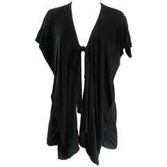 1970s Holly's Harp Early Label Black Silk Jersey Boho Wrap Cardigan Vintage Top