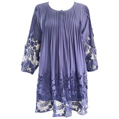 Enzo Gevonni Vintage Perwinkle Purple Crochet Babydoll Vintage Mini Dress Tunic