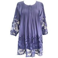 Enzo Gevonni Vintage Perwinkle Purple Crochet Babydoll Vintage Mini Dress Tunic