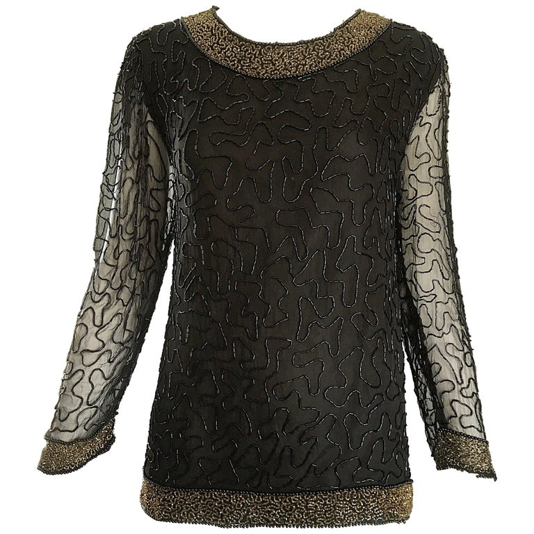 Stunning Swee Lo 1980s Black + Gold Silk Chiffon Beaded Vintage 80s Blouse Top For Sale