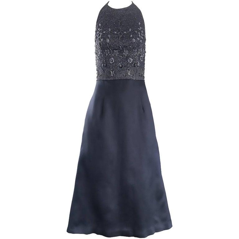 6b2b9efde67c Vintage Pamela Dennis Couture Charcoal Grey Beaded 90s Midi Halter A Line  Dress For Sale