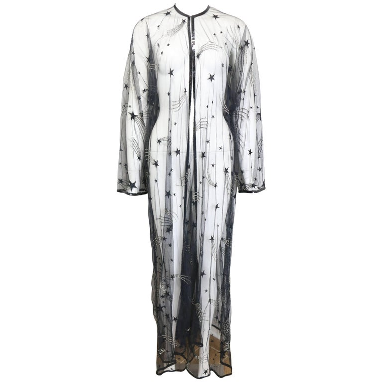 Chanel Embroidered See Through Evening Dressing Gown For Sale