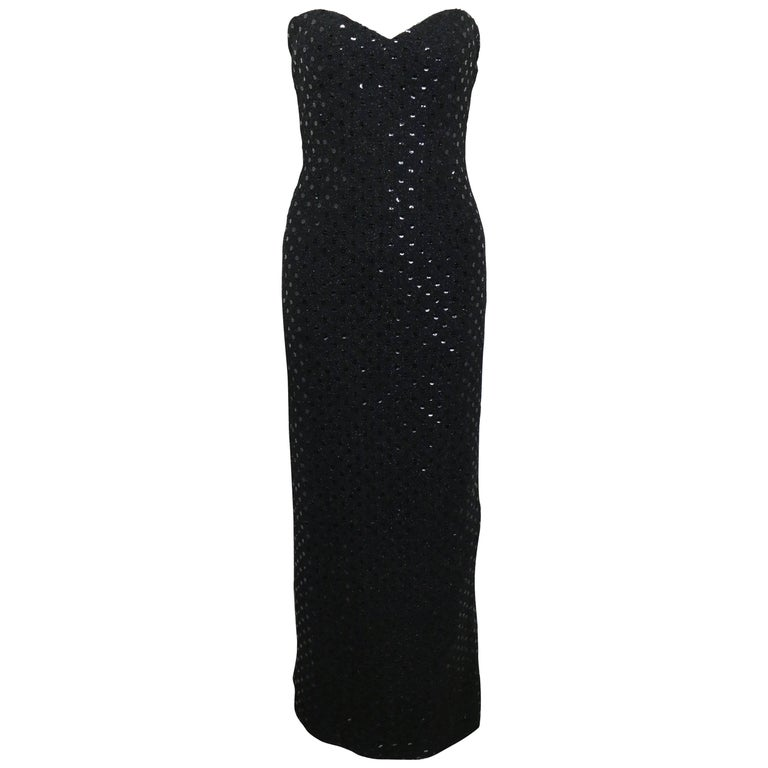 Chanel Black Tweed with Black Sequins Long Tube Evening Dress For ...