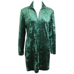 Issey Miyake Green Crush Velvet Dress
