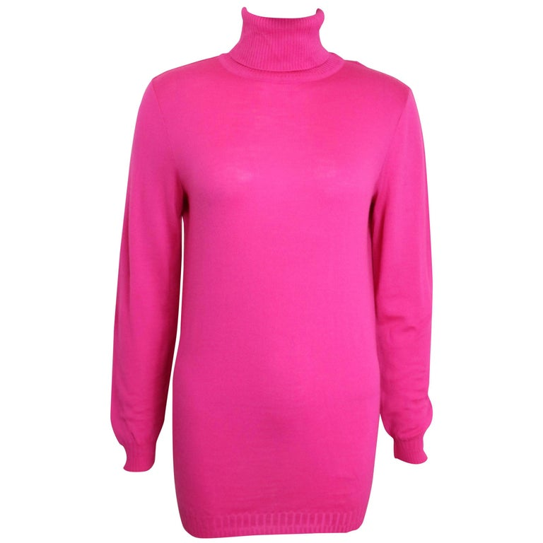 Gianni Versace Couture Pink Wool Turtleneck Top
