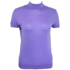 90s Gianni Versace Couture Purple Cashmere and Wool Mock Neck Short Sleeves Top