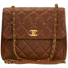 1990s Chanel Chocolate Brown Quilted Caviar Leather Vintage Single Flap Bag